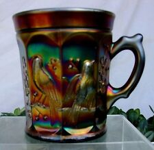 "NORTHWOOD""c1911""BLACK AMETHYST""ELECTRIC""CARNIVAL GLASS""SINGING BIRDS*MUG*XLNT"