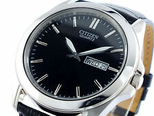 NEW CITIZEN MEN'S STAINLESS STEEL BF0580-06E BLACK DIAL LEATHER BAND WATCH