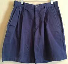 "Nike Mens Size 34 X 10"" Inseam 100% Cotton Pleated Blue Shorts"