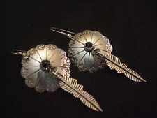 Native American Sterling Silver Onyx Concho Earrings with silver feather