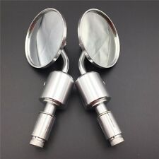 "Silver CNC RearView Handle Bar End Round Mirror 7/8"" For Yamaha V-max FZ1 FZ6 V-"