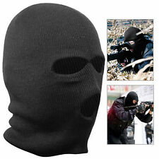 BLACK BALACLAVA MASK 3 HOLES WINTER SAS STYLE ARMY SKI HAT NECK WARMER