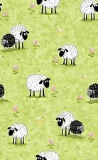 Susybee LAL the LAMB Meadow Sheep Green Quilt Fabric by 1/2 yard  #SB20049-830