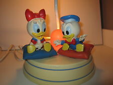 Vintage Baby Donald Duck and Baby Daisy Duck lamp & night light 11 1/2 in tall