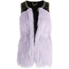 NEU JUICY COUTURE Faux Pelz Weste Fur Vest Embellished Lila Purple XS $298