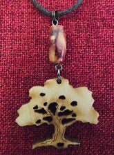 Tree of Life Birch Wood Bead Earthy Celtic Pagan Wicca Waxed Cotton Necklace