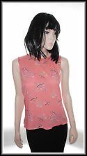Warehouse Sleeveless Pink Birds Print Button Top size UK 16  EUR 44