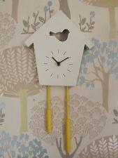 Wooden Birdhouse Wall Clock- Cream -Childrens room/Kitchen 39 x 20 cm