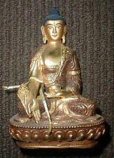 Buddha Statue Brass Gold Leaf Face 6 inch Tibetan Handmade 2 sided Nepal Tibet
