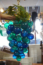 VINTAGE SWAG LAMP GRAPE CLUSTER MID CENTURY LUCITE TURQUOISE BLUE HANGING CHAIN