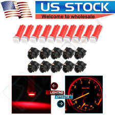 10x Red T5 58 37 70 PC74 Twist Socket Instrument Cluster Dash Led Light Bulb Kit