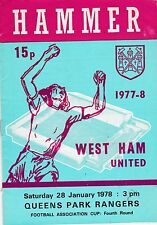 WEST HAM UNITED V QUEENS PARK RANGERS  FA CUP  28/1/78