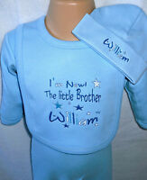 PERSONALISED LITTLE SISTER OR LITTLE BROTHER BIB, VEST, SLEEPSUIT +MATCHING HAT!