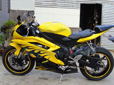 Fit for 2006-2007 Yamaha YZF R6 Yellow Black Flame Injection Plastic Fairing f40