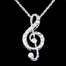 w Swarovski Crystal Dainty TREBLE g CLEF music Musical NOTE Charm Chain Necklace