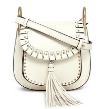 Chloé Hudson Leather Studded Medium Crossbody Shoulder Bag Lace White NWT