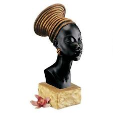 African Nubian Kandake Royal Ruler Bust Sculpture Elegant Queen Statue