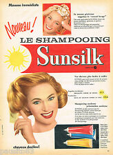 PUBLICITE ADVERTISING 065  1957  SUNSILK    shampoing mousse