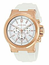 Michael Kors Mens Watch Dylan White Silicone Rose Gold Steel Chronograph MK8492