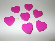 16pcs 30mm Large Wooden HEART Beads  HOT PINK  (Dyed Wood Color) KIDS LOVE