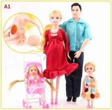 6pcs/lot New Educational Real Pregnant Doll Happy Family for Barbie