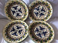 Deruta set of 4 Dinner Plates Tabletops Unlimited Blue Floral Feather Leaves