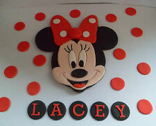 HANDMADE MINNIE MOUSE POLKA DOT PERSONALISED BIRTHDAY CAKE TOPPER DECORATION