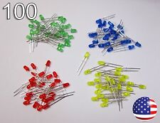 100pcs 3mm Red Yellow Green Blue Diffused LED - Round - 25/ea Color Diode DIY RC