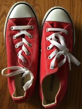 CONVERSE All Star CHERRY RED Tennis Shoes Boys Girls Bright Red Youth Sz 2
