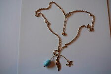 UK HOOCH GOLD & TURQUOISE CHARM STYLE NECKLACE ladies & girls costume jewellery
