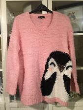 A54 New Look Inspire Plus Sz 22 Pink Fluffy Soft Cute Penguin Xmas Jumper
