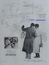 PUBLICITE DUNLOP PNEU FINALE COUPE DAVIS BALLE RAQUETTE TENNIS DE 1933 FRENCH AD