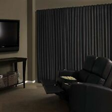 Velvet Custom Panel Drape 15W x 8H Black Home Theater Energy Efficient Curtain