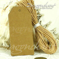 Pack of Retro Tags Plain Blank Kraft Brown Chamfer Gift Price Label with+Strings