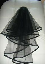 2 Tier Black Satin Trim Veil / FREE POSTAGE.