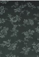 Striking Fruit & Floral Silver on Black Toile  Wallpaper-Double roll