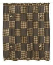 New Primitive Country Farmhouse STAR QUILT BLOCK Black Fabric Shower Curtain