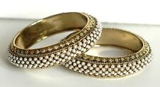 Pearl Fashion Indian Bridal Bollywood Dull Gold Bangle Bracelet Set 2.10 2/10