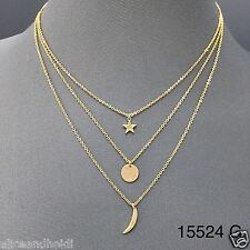 Dainty Classy Triple Layered Gold Chains Star Crescent Moon Pendant Necklace