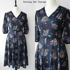 VINTAGE 1970S TEA DRESS 1940S STYLE FLORAL NAVY BOHO CHIC RETRO CASUAL MIDI 16
