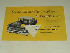 Prospectus SIMCA VEDETTE 57 catalogue,brochure, prospekt car