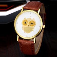 De mujer Relojes Oro Búho Diseño pulsera Cuero Analogico Cuarzo Moda