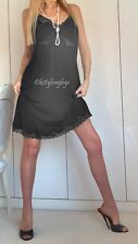 Style vintage noir floppy stretch s'accrochent résister full slip jupon taille uk 18