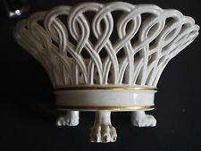 Italy Old Paris Gold Interlaced Reticulated Claws Centerpiece Basket Compote FC