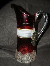ANTIQUE EAPG RUBY FLASHED GLASS TANKARD PITCHER BUTTON ARCHES DUNCAN MILLER 12T