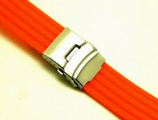 22mm Orange Rubber Sports Watch Strap Band with Push Button Deployment Clasp