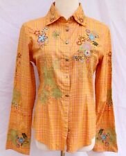 NEW Martini Ranch Embroidered Floral Western Peach Pink Plaids Shirt size S/M