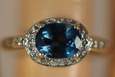 JOHN C RINKER 14K SOLID GOLD 1.80CTW LONDON BLUE TOPAZ DIAMOND RING 14KT 6.75