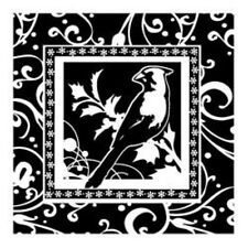 Merry CHRISTMAS CARDINAL FRAME acrylic CLEAR unmounted RUBBER STAMP's NEW bird
