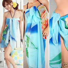 Women Blue Ocean Hawaiian Floral Pareo Dress Sarong Beach Cover Bikini Swimwear